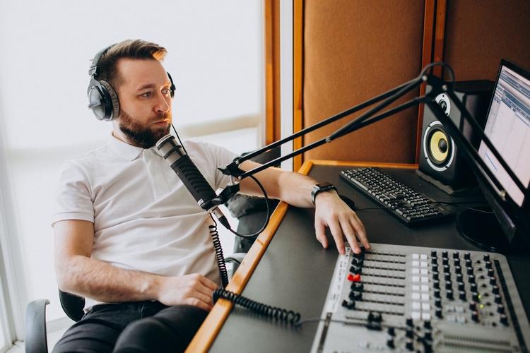 Man at a recording srudio, music production